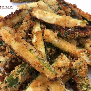 pile of baked zucchini french fries