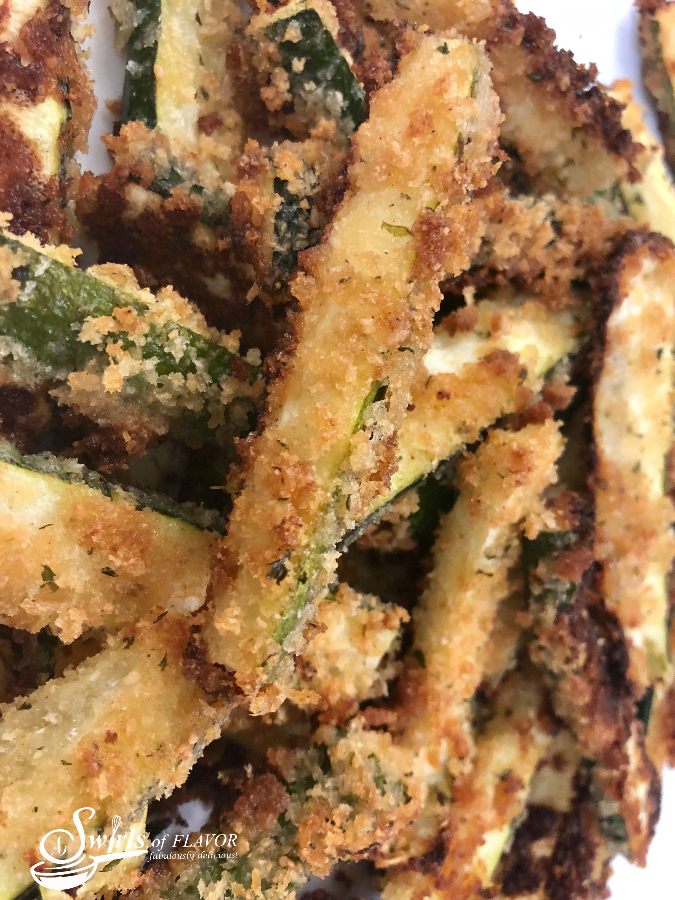close up of Baked Zucchini Fries in a pile