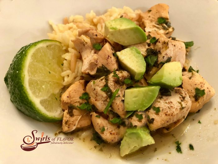 Instant Pot Cilantro Lime Chicken is a perfect weeknight dinner that's ready in just minutes on those busy days! Fresh cilantro and lime juice combine with chili powder and garlic for a kickin' good flavor combo! chicken | dinner | easy | cilantro | lime | avocado