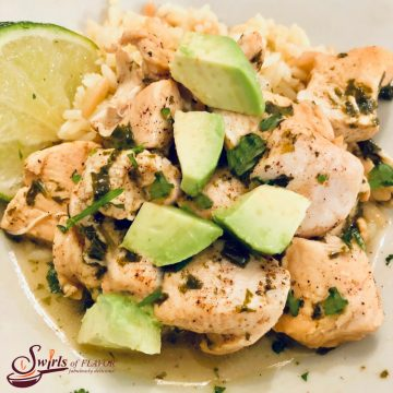 chicken with avocado and cilantro