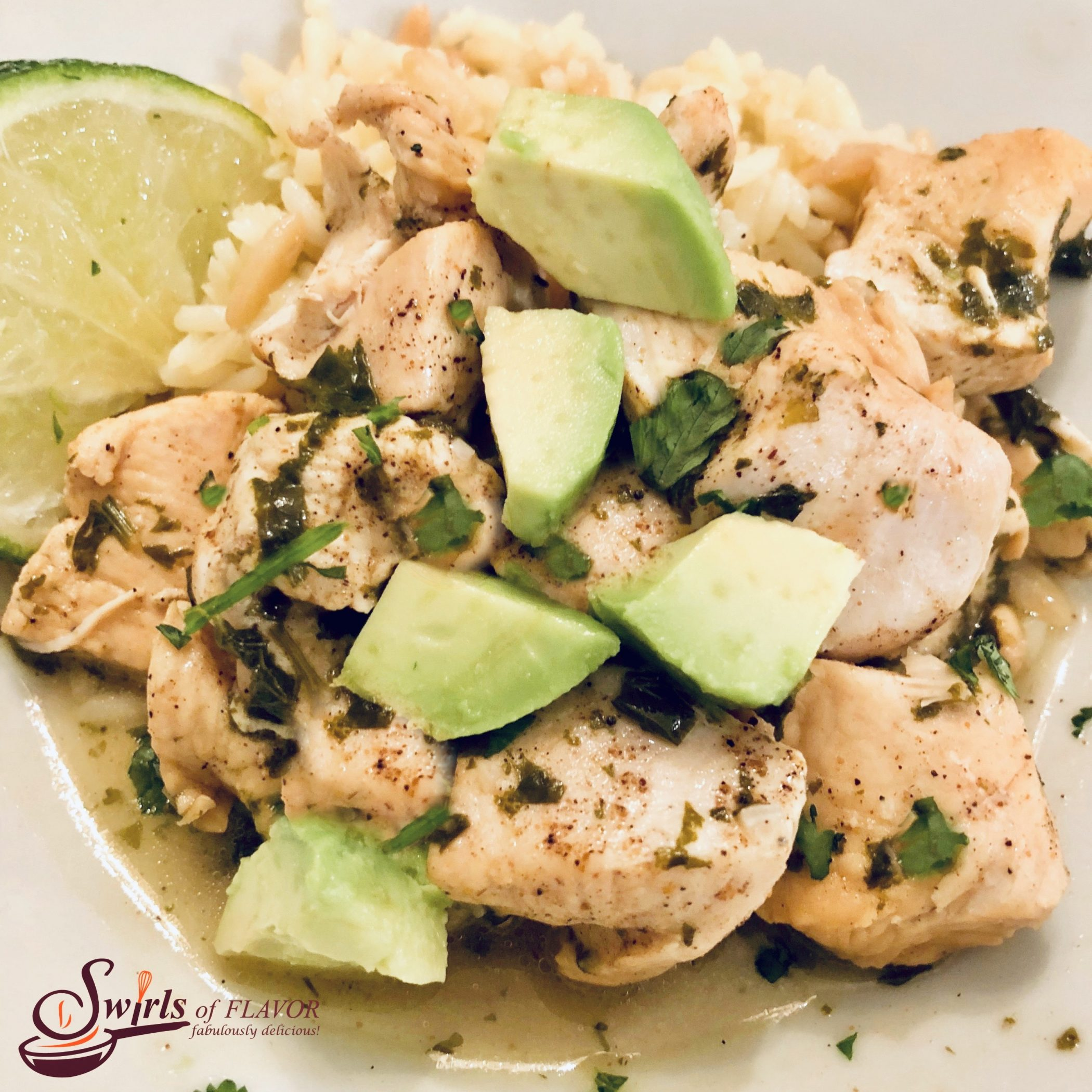 chicken with cilantro, lime and avocado