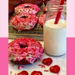 red velvet donuts with milk and text overlay