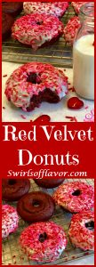 Love is in the air when you bake Red Velvet Donuts! Intense red color, cake-like texture and deep chocolate flavor make them perfect for Valentine's Day! easy dessert   baked donuts   red velvet   Valentine's Day   fun for kids