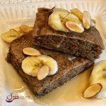 Sheet Pan Banana Bread Pancakes make mornings easier and oh so delicious! Brown sugar, cinnamon and bananas bake in a pancake batter in just minutes! sheet pan   breakfast   banana bread   easy   fun for kids   #swirlsofflavor