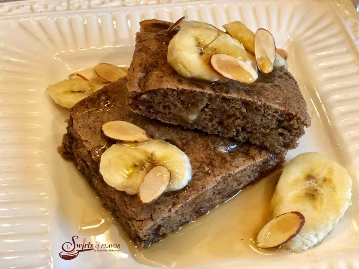 Sheet Pan Banana Bread Pancakes make mornings easier and oh so delicious! Brown sugar, cinnamon and bananas bake in a pancake batter in just minutes! sheet pan | breakfast | banana bread | easy | fun for kids