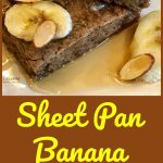 Sheet Pan Banana Bread Pancakes make mornings easier and oh so delicious! Brown sugar, cinnamon and bananas bake in a pancake batter in just minutes! sheet pan | breakfast | banana bread | easy | fun for kids | #swirlsofflavor