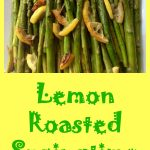 lemon roasted asparagus with text overlay