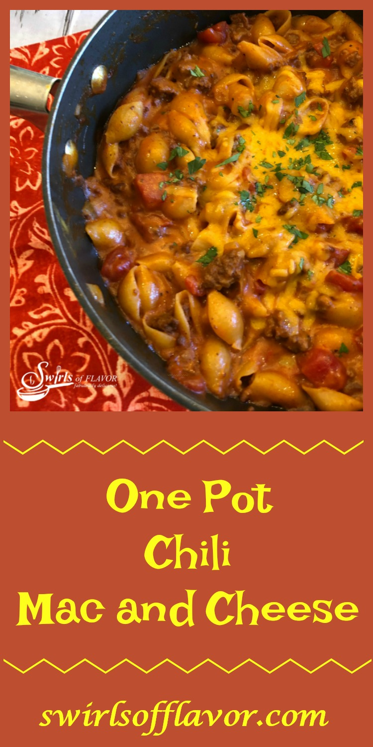 One Pot Chili Mac and Cheese is an easy dinner recipe kids will love and it's filled with cheesy saucy goodness and made in just one pot! #chili #groundbeef #easyrecipe #dinner #recipe #cheese #macandcheese #funforkids #onepotrecipe #swirlsofflavor