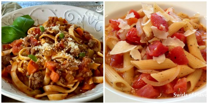 Fettuccine Bolognese and Penne Pomodoro