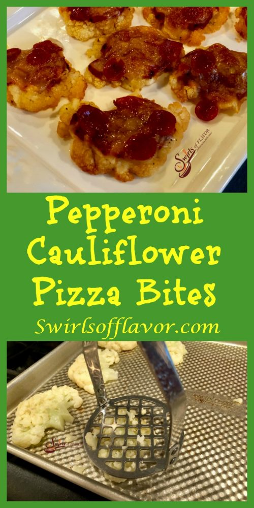 Pepperoni Cauliflower Pizza Bites are the perfect nutritious, delicious and fun appetizer for both adults and kids! Easy to make and fun to eat! pizza | appetizer | cauliflower | cauliflower crust | pepperoni | fun for kids | snacks | recipe | easy | #swirlsofflavor
