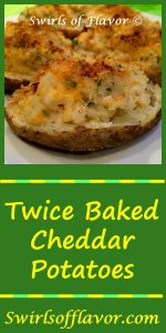 Buttery and cheesy, Twice Baked Cheddar Potatoes are lightened with Greek yogurt, giving them just a hint of tangy-ness too! Greek yogurt | holiday | easy recipe | make ahead | Easter | entertaining | #swirlsofflavor