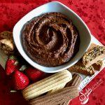 Nutella Hummus combines chickpeas, cocoa powder and hazelnut spread for a protein packed sweet dessert dip that's easy to make and a perfect healthy sweet treat for your next dessert. recipe | easy | dessert | hazelnut | Nutella | hummus | healthy | #swirlsofflavor