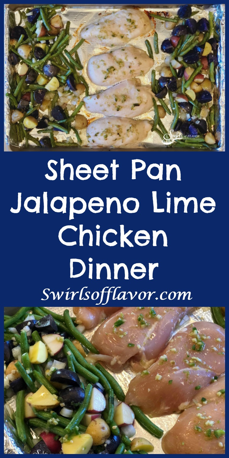 Sheet Pan Jalapeno Lime Chicken Dinner is an easy recipe that cooks together in the oven. Chicken, potatoes and green beans are flavored with zesty jalapeno, fresh ginger and citrus lime! easy dinner | easy recipe | sheet pan | chicken | potatoes | vegetables | green beans | #swirlsofflavor