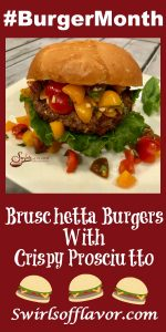 Bruschetta Burgers With Crispy Prosciutto on white dish