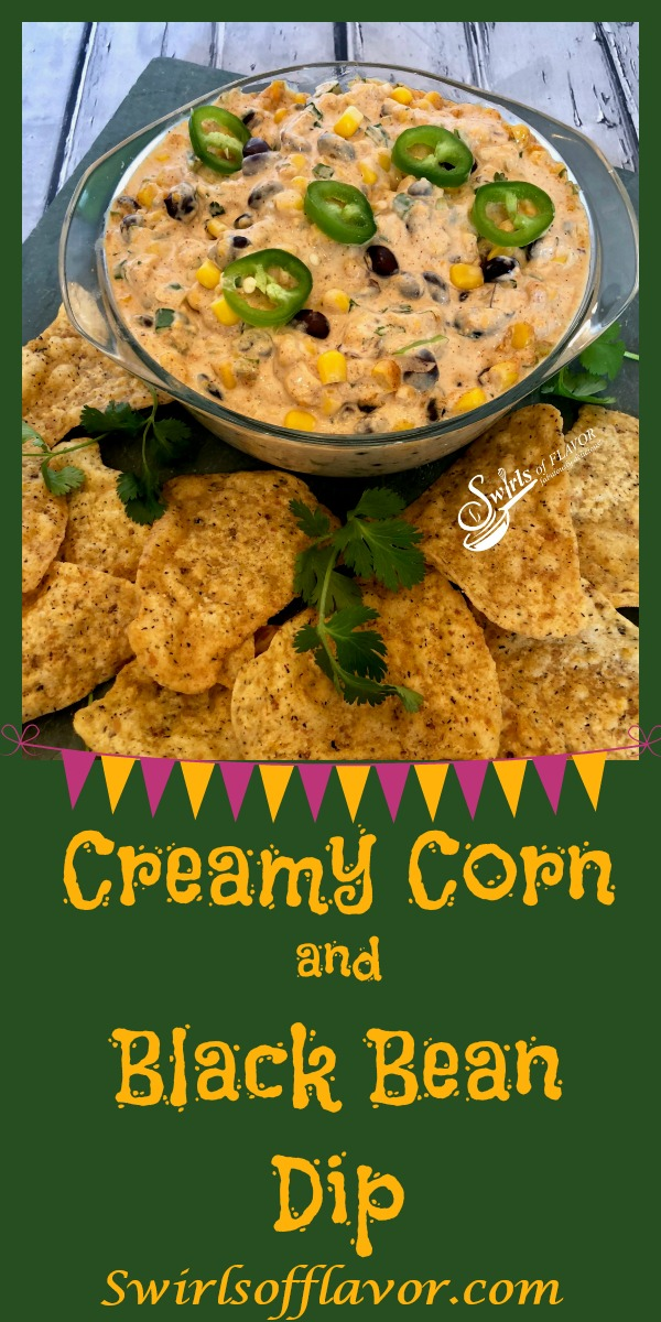 Creamy Corn and Black Bean Dip, an easy dip recipe that's bursting with cheesy goodness and a hint of spice, served with tortilla chips or fresh veggie dippers, is a delicious way to kick off your Cinco de Mayo fiesta! hot dip | corn | black bean | creamy dip | appetizer | party food | #swirlsofflavo