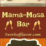 Mimosa Bar table with fresh fruits, juices and sparkling wine and text overlay