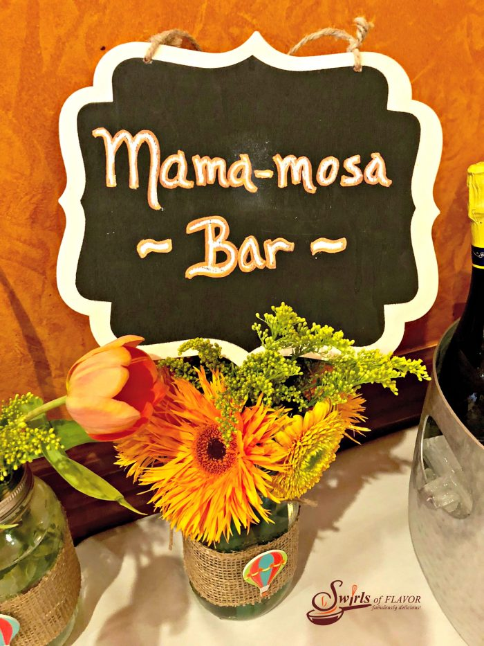 The Mama-Mosa Bar is filled with fresh fruits, juices and bubbly Prosecco or sparkling juice, to celebrate the mama-to-be! A Mimosa is the perfect addition to every brunch, breakfast in bed and Mother's Day celebration! mimosa | baby shower | drinks | cocktails | fresh fruit | fruit juices | Prosecco | sparkling water | chanpagne | orange juice | #swirlsofflavor