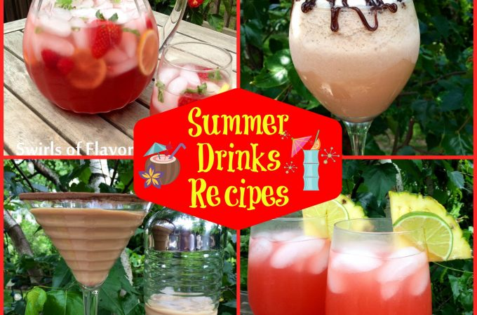 From wine slushies, to a Bourbon punch to Berry Lemonade (with a splash of vodka, of course!), to a Caribbean Sunset cocktail and so much more, we haveSummer Drinks Recipes bursting with cocktails to get you through all of your picnics, barbecues and al fresco summer dining. drinks | cocktails | easy recipes | drink recipes | summer drinks | #swirlsofflavor