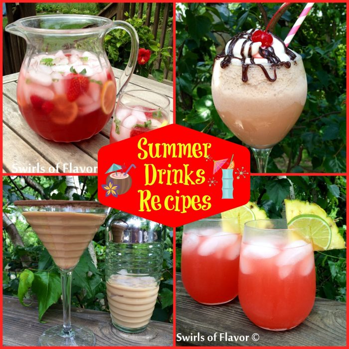 From wine slushies, to a Bourbon punch to Berry Lemonade (with a splash of vodka, of course!), to a Caribbean Sunset cocktail and so much more, we have Summer Drinks Recipes bursting with cocktails to get you through all of your picnics, barbecues and al fresco summer dining. drinks | cocktails | easy recipes | drink recipes | summer drinks | #swirlsofflavor