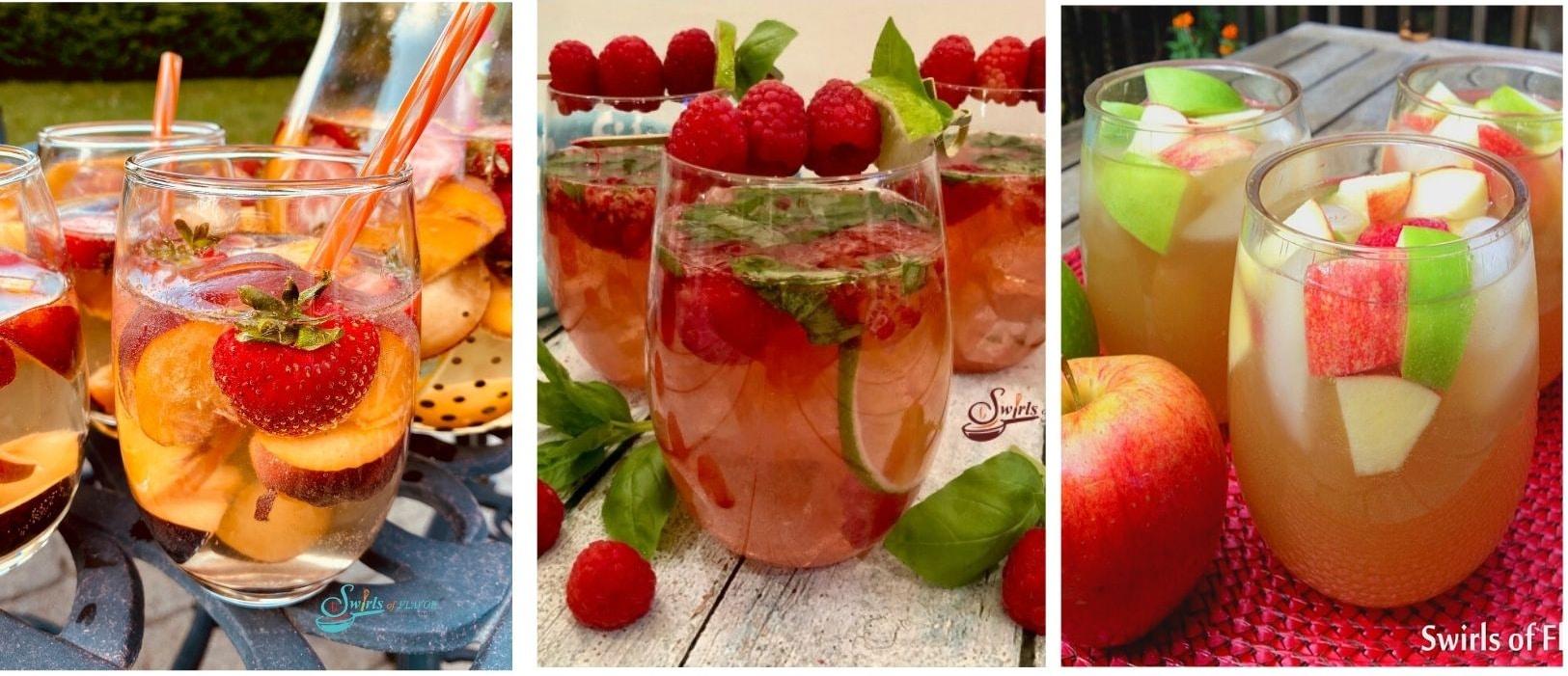 collage of peach sangria, rose sangria and apple cider sangria
