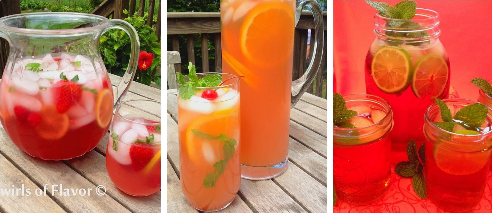 collage of prosecco punch, Belmont jewel punch and mint julep punch