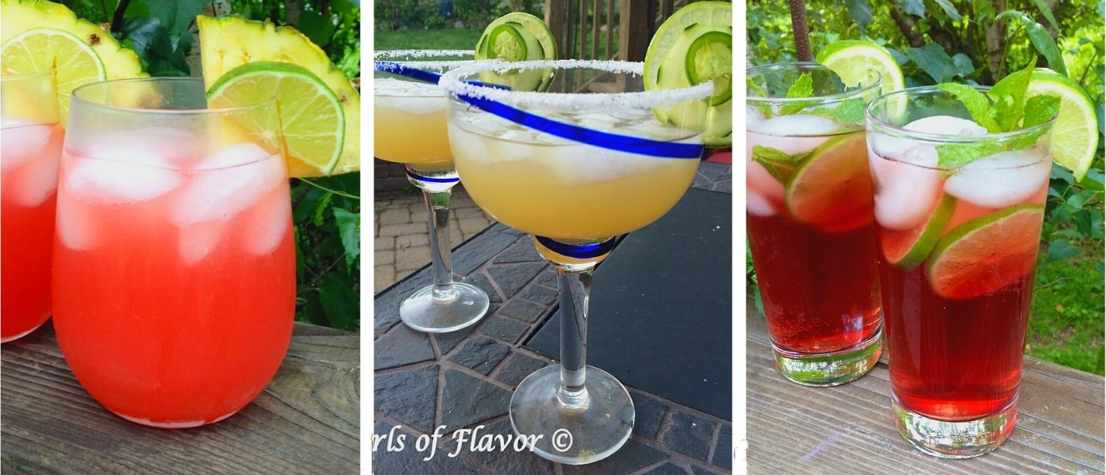collage of sunset rum cocktail, jalapeno margarita and pomegranate mojito
