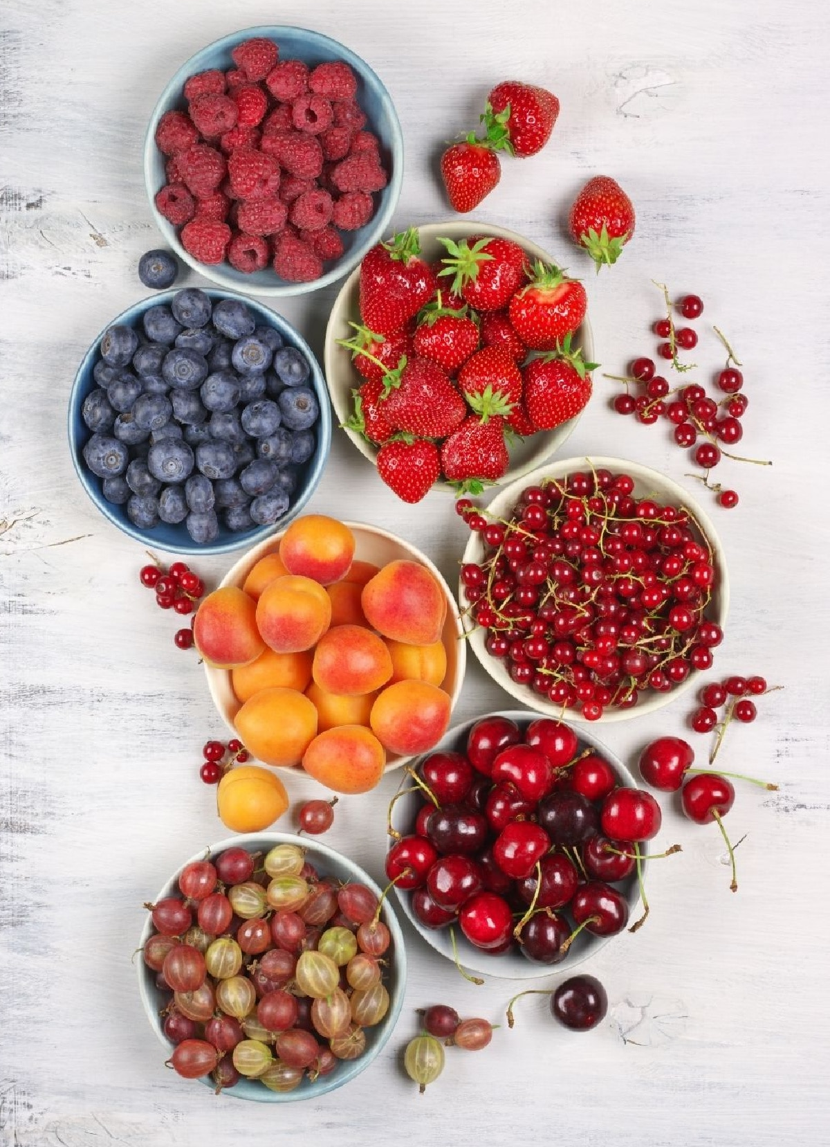 bowls of fresh fruit for a drink bar