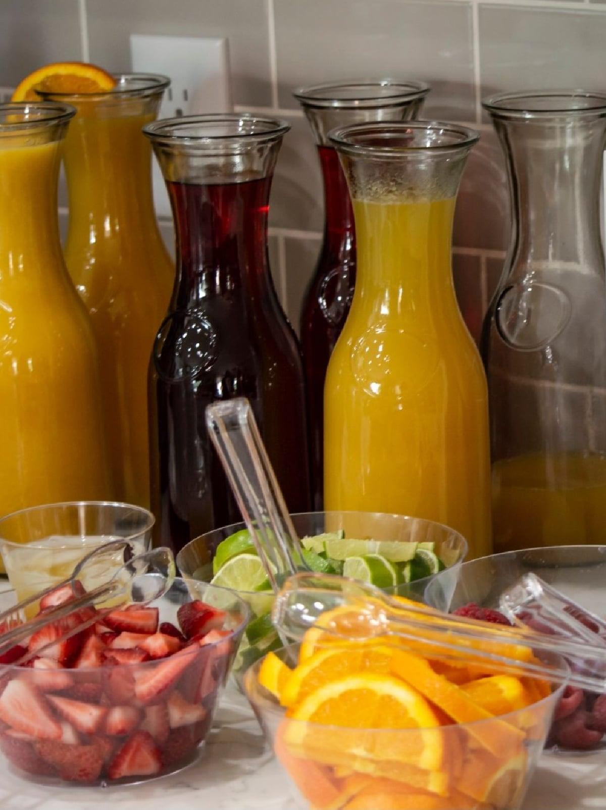 DIY mimosa bar juices and fruits