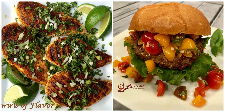 Chili Spiced Chicken and Bruschetta Burgers
