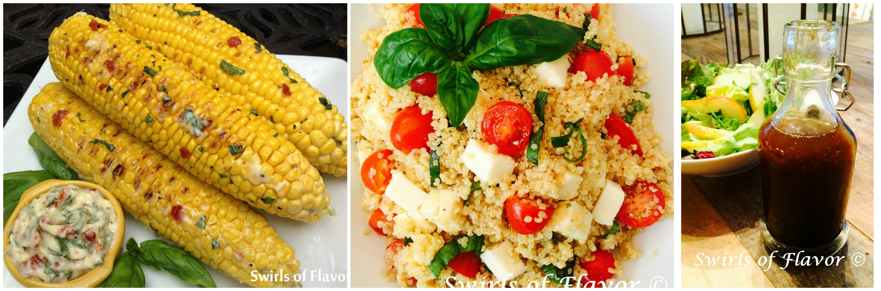 Corn on the Cob; Caprese Quinoa and Honey Orange Balsamic Vinaigrette