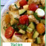 Italian bread salad in a round bowl