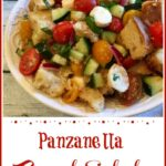 Panzanella Summer Bread Salad in a round white bowl