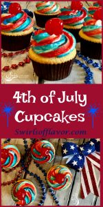 4th of July cupcakes are simple from-scratch vanilla cupcakes topped with a homemade buttercream frosting decorated with red and blue stripes and topped with a cherry. Perfect for your patriotic celebration! easy recipe | dessert | cupcakes vanilla cupcakes | red white and blue frosting | July 4th | Memorial Day | Labor Day | #swirlsofflavor