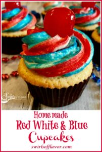 red white and blue cupcake with cherry on top