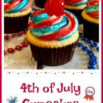 Celebrate our country's birthday with homemade vanilla July 4th Cupcakes with red white and blue frosting and a cherry on top!
