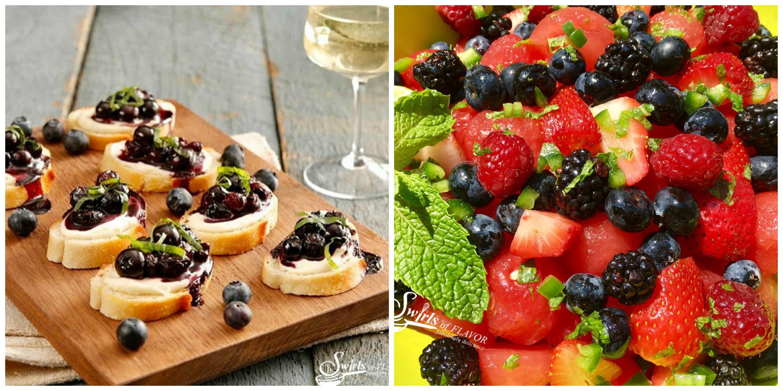 Blueberry Crostini and Summer Fruit Salad