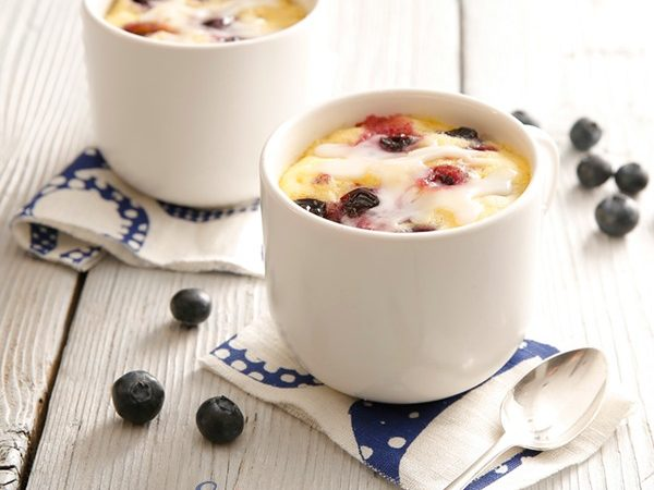 """You can have a piece of Blueberry Mug Cake With Lemon Glaze in just minutes with our easy recipe that """"cooks"""" in your microwave in just minutes! mug cake 