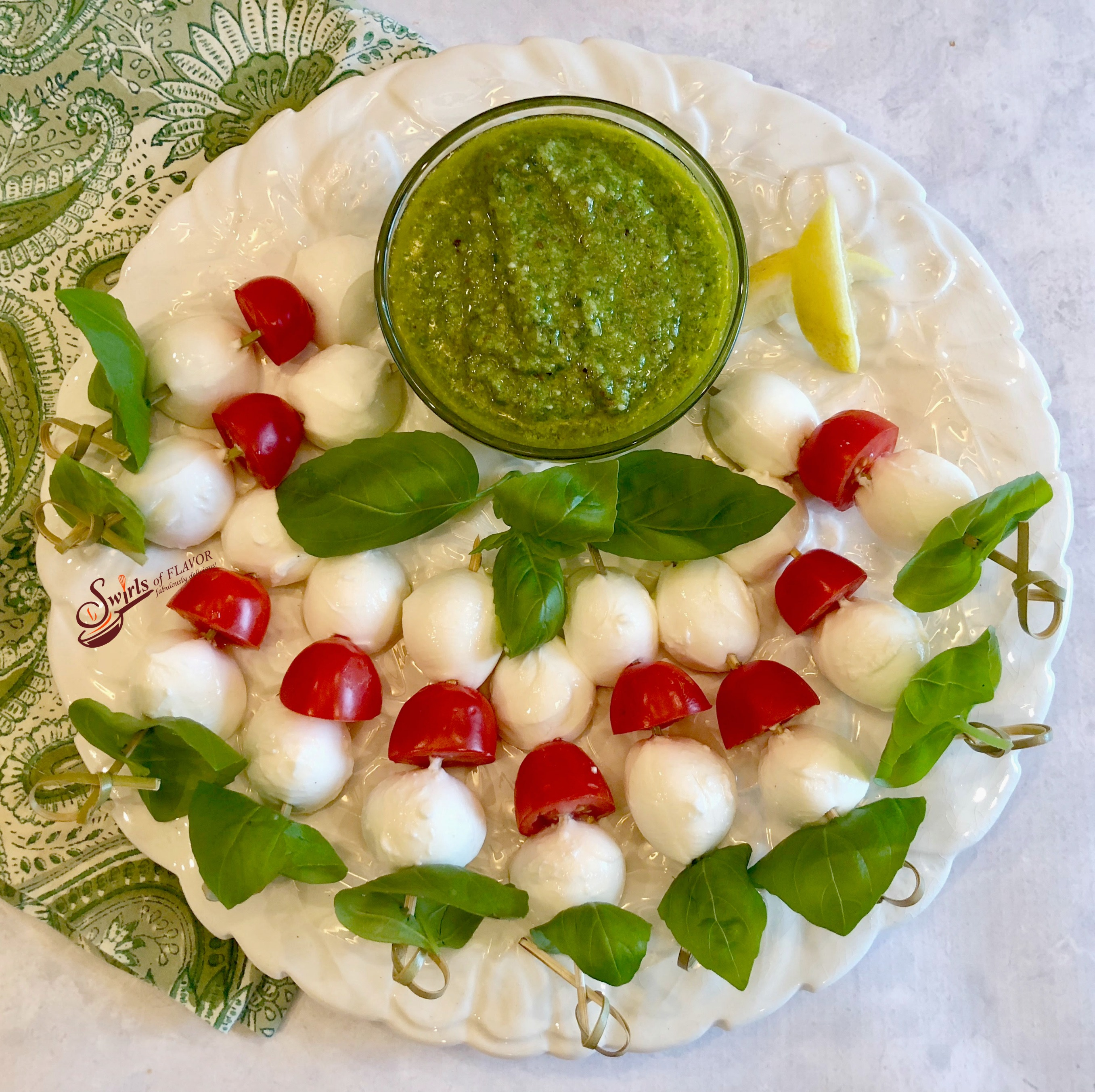 Caprese Skewers With Pesto