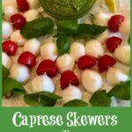 Skewers of mozzarella, tomato and basil with pesto