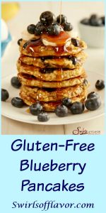 With just four ingredients, you'll happily be making these from-scratch Gluten-Free Blueberry Pancakes over and over again for breakfast. pancakes | blueberry | homemade | breakfast | brunch | easy recipe | oats | bananas | #swirlsofflavor