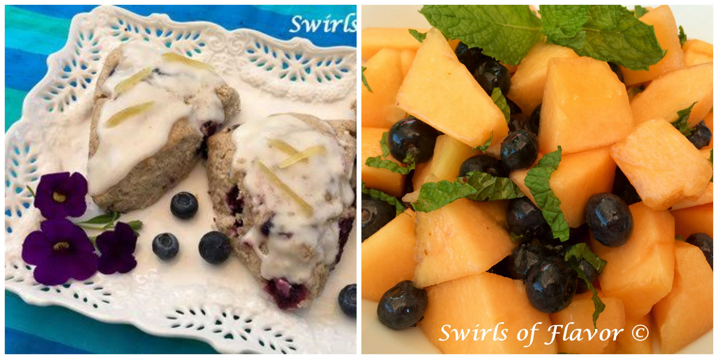 Blueberry Scones and Blueberry Cantaloupe Salad