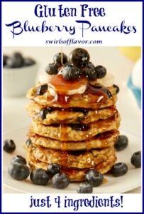 stack of blueberry pancakes with text overlay