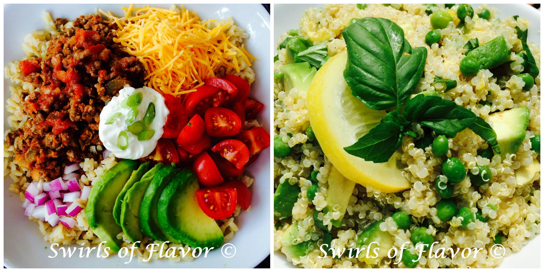 Taco Bowl and Avocado Quinoa