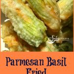 Parmesan Basil Fried Squash Blossoms are filled with a ricotta and Parmesan cheese mixture. Add a fresh herb, coat in a light batter and fry to crispy perfection, and I bet you can't eat just one! zucchini   squash   zucchini blossoms   zucchini flowers   squash blossoms   squash flowers   easy recipe   summer vegetable   cheese   cheese stuffed   farmers market   #swirlsofflavor