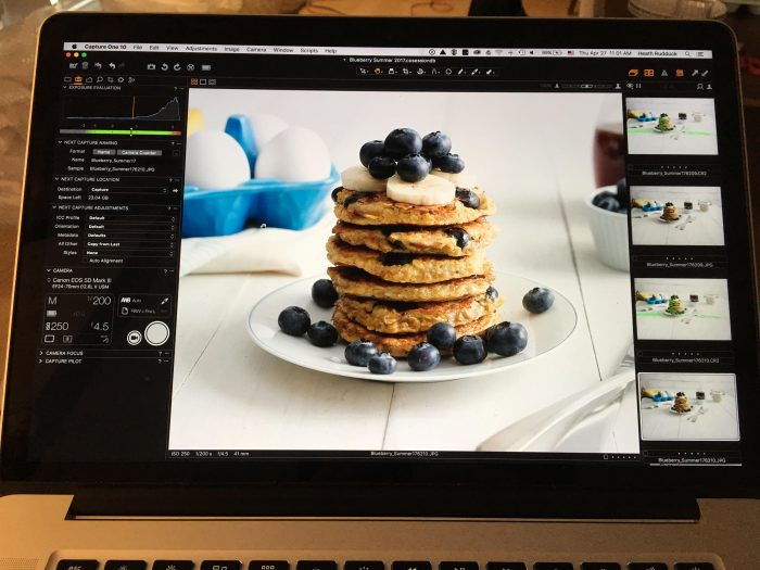 gluten Free Blueberry Pancakes on the computer monitor at the photo shoot.