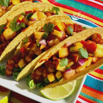 Vegan Chickpea Tacos With Peach Salsa is an easy vegan recipe that's packed with the protein of chickpeas and topped with a lime-scented fresh peach salsa!