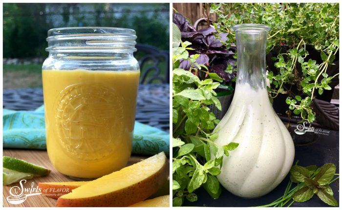 Chipotle Mango vinaigrette and Green Goddess Creamy Salad Dressing
