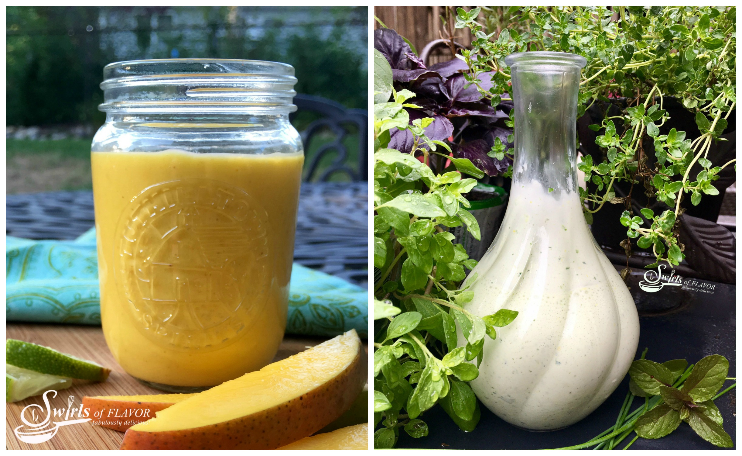 Chipotle Mango vinaigrette and Green Goddess Creamy Salad Dressing
