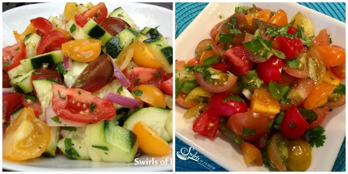 cucumber Tomato Salad and Fresh Heirloom Tomato Salsa