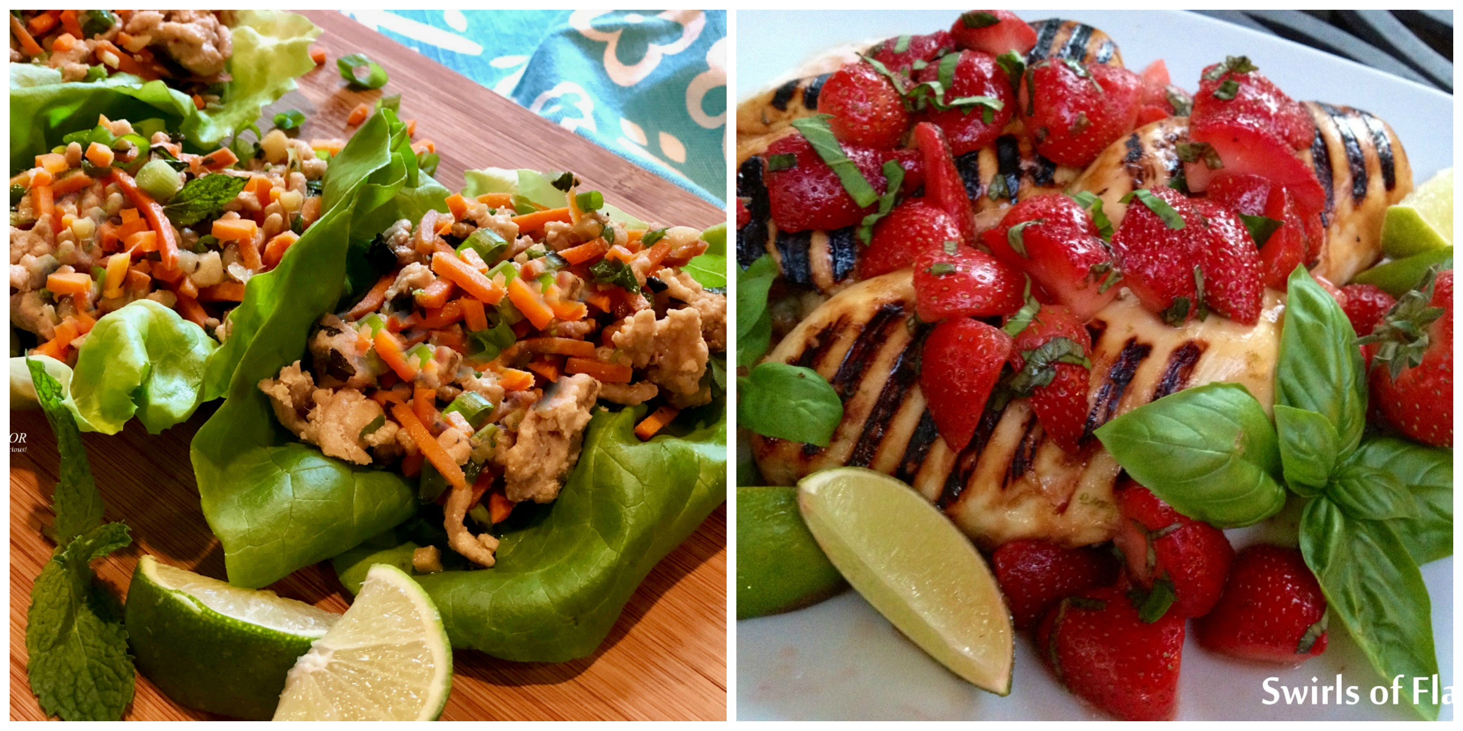 thai chicken Lettuce Wraps and Strawberry margarita Chicken
